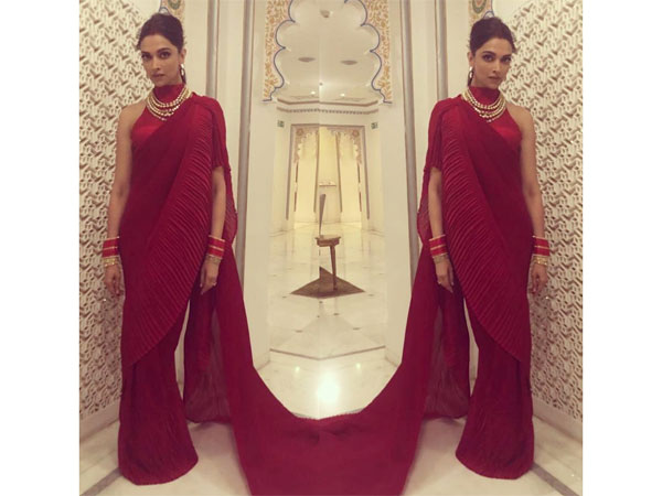 Deepika Padukones Contemporary Red Sari Should Be Your Next Cocktail Party Wear