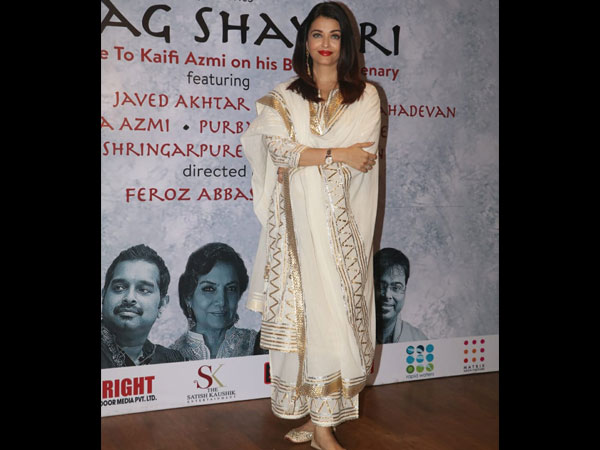 Aishwarya Rai Bachchan Looks Absolutely Graceful In Her Cream And Gold Ethnic Suit