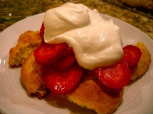 Strawberry Biscuit Pudding