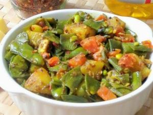 Broad Beans Potato Fry Chikkudukaya Aloo Sabzi