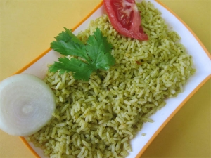 Aloo Green Chutney Pulao Recipe