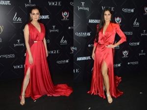 Omg Katrina Kaif Dia Mirza S Red Gowns Looked Pretty Simila