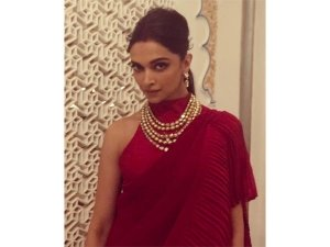 Deepika Padukones Red Sari Isha Ambanis Pre Wedding Bash