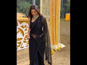 Sushmita Sen A Black Neeta Lulla Sari At Wedding Delhi