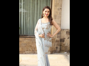 Madhuri Dixit Nene In A Blue Gharara For Kalank Promotion