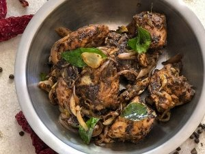 Andhra Style Pepper Chicken Recipe In Telugu